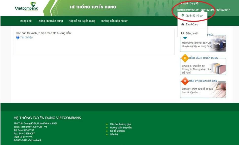 huong dan nop ho so online vao vietcombank 10