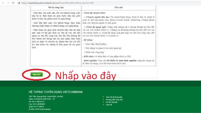 huong dan nop ho so online vao vietcombank 2